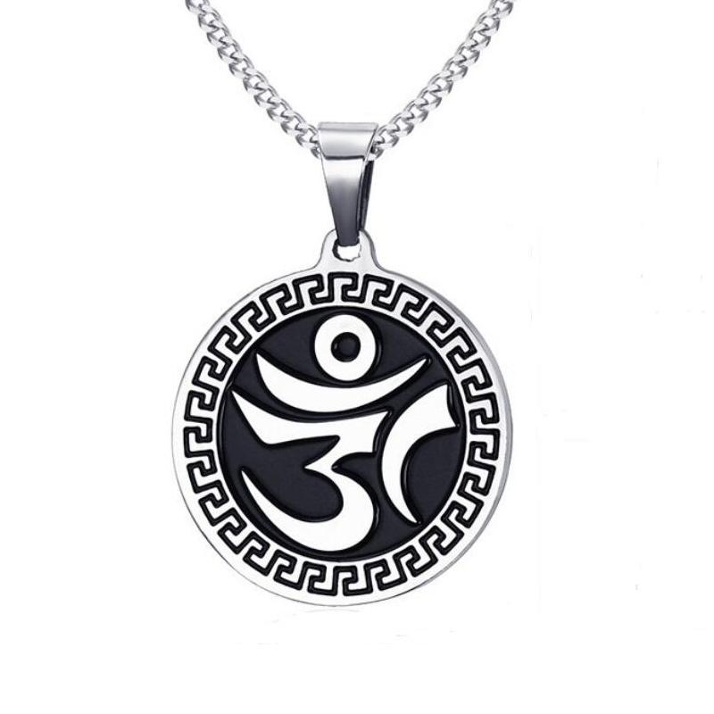 Heyrock-Black-Casting-font-b-Round-b-font-Metal-Necklace-OM-font-b-Mantra-b-font