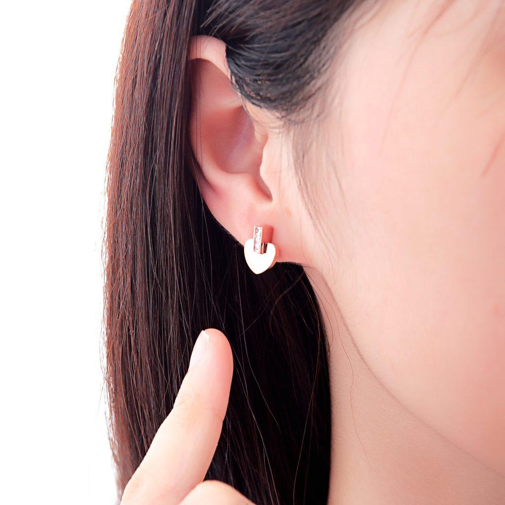 Wholesale Stainless Rose Gold Heart Earrings